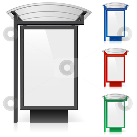 A billboard at a bus stop in different colors stock photo, A billboard at a bus stop in different colors. Illustration on white background  by dvarg