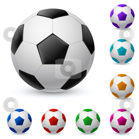 Realistic soccer ball in different colors stock photo, Realistic soccer ball in different colors. Illustration on white background  by dvarg