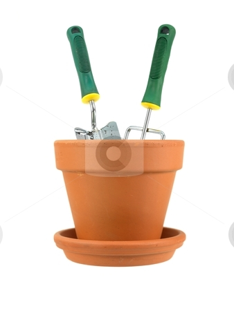 Flower Pot stock photo, Garden tools in a clay pot isolated against a white background by Kitch Bain