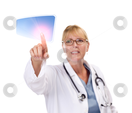 Female Doctor Touching Button on Touch Screen stock photo, Attractive Female Doctor Touching Button on Touch Screen. by Andy Dean
