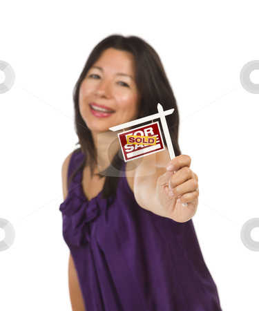 Multiethnic Woman Holding Small Sold Real Estate Sign stock photo, Attractive Multiethnic Woman Holding Small Sold For Sale Real Estate Sign in Hand Isolated on White Background. by Andy Dean