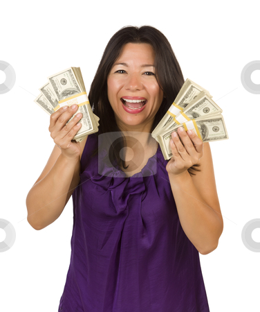 Excited Multiethnic Woman Holding Hundreds of Dollars stock photo, Excited Attractive Multiethnic Woman Holding Hundreds of Dollars Isolated on a White Background. by Andy Dean