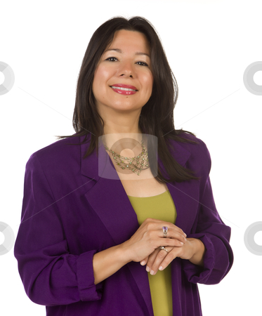 Attractive Multiethnic Woman on White stock photo, Attractive Multiethnic Woman Isolated on a White Background. by Andy Dean