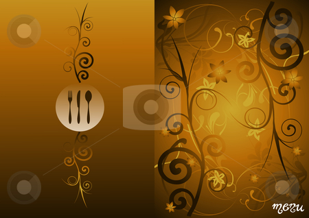 Golden floral vintage menu cover design stock photo, Fork, knife and spo menu illustration for food industry, chocolate box, cover, label for wine. Gradient golden floral background, by Cienpies Design