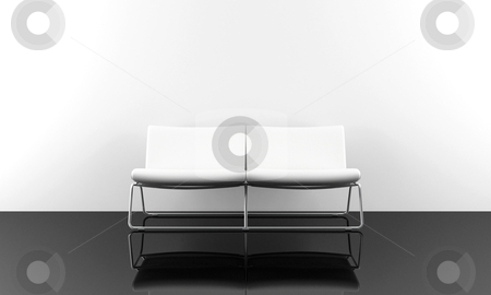 White modern sofa stock photo, white modern style sofa in white luminous room by Giordano Aita