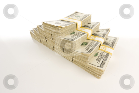 Stacks of One Hundred Dollar Bills on Gradation stock photo, Stacks of One Hundred Dollar Bills Isolated on Gradation. by Andy Dean
