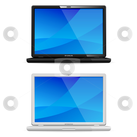 New black and white laptop stock photo, New black and white laptop isolated on white background. Front view. by dvarg