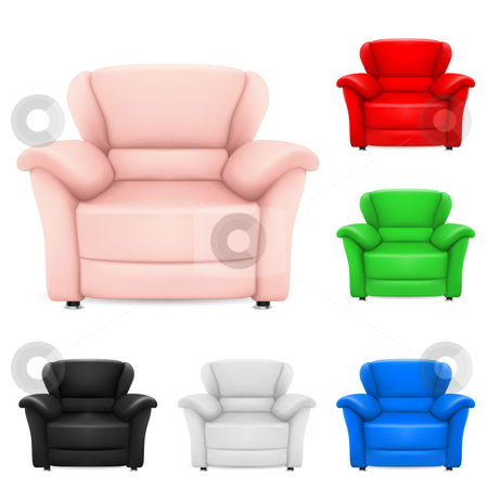 Colored set of stylish chairs stock photo, Colored set of stylish chairs. Illustration on white background by dvarg