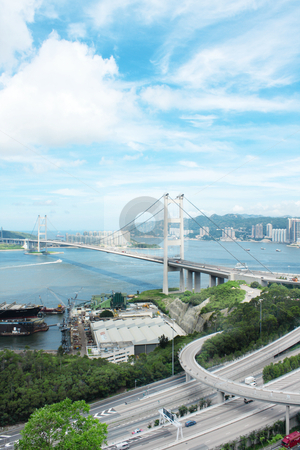 Tsing Ma Bridge  stock photo, Tsing Ma Bridge in hong kong at day by Keng po Leung