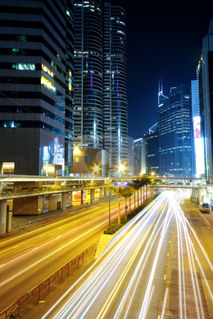 Traffic in downtown at night,hongkong city stock photo, Traffic in downtown at night,hongkong city by Keng po Leung