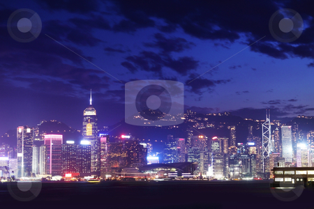 Hong Kong at night  stock photo, Hong Kong at night  by Keng po Leung