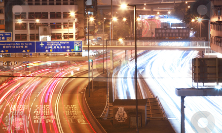 Busy traffic  stock photo, busy traffic at night in hong kong by Keng po Leung