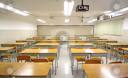 Empty big classroom at school stock photo, Empty big classroom at school by Keng po Leung