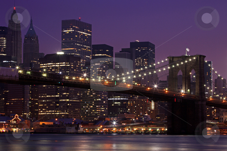 Brooklyn Bridge and Manhattan Skyline At Night NYC stock photo, Brooklyn Bridge and Manhattan Skyline At Night, New York City by Katrina Brown