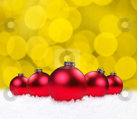 Christmas Holiday Bauble Bulbs  stock photo, Red Christmas Holiday Bauble Bulbs on Golden Background by Katrina Brown