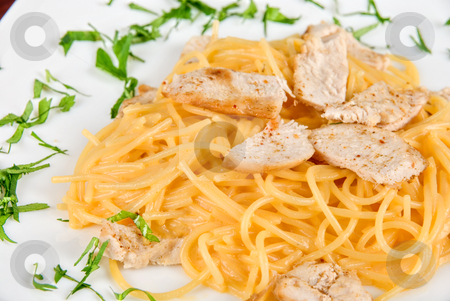 Pasta with chicken meat stock photo, Pasta with chicken meat and greens tasty dish by olinchuk