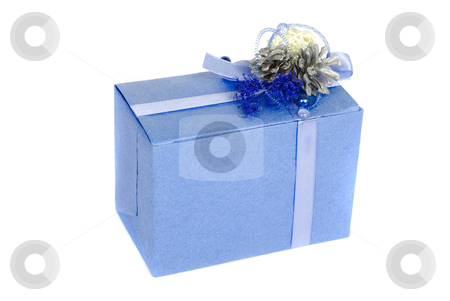 Blue gift box stock photo, blue gift box isolated on a white background by olinchuk