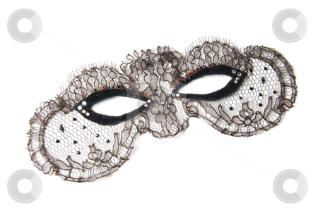 Mask stock photo, Black masquerade decorative mask on a white background by olinchuk