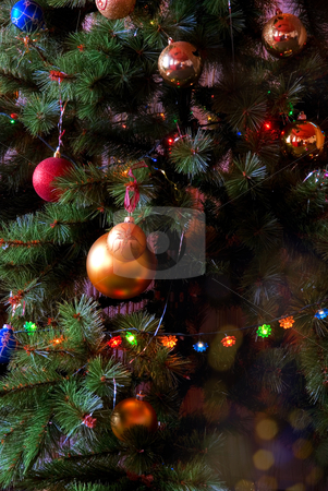 Christmas fur-tree stock photo, Christmas fur-tree decorated with toys by olinchuk