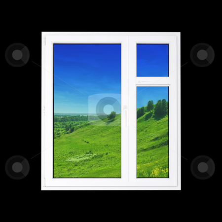 Window stock photo, window at black wall and the summer landscape by olinchuk