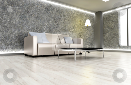 Dark living room stock photo, 3D rendered Illustration. An living room. Dark concrete style. by Michael Osterrieder