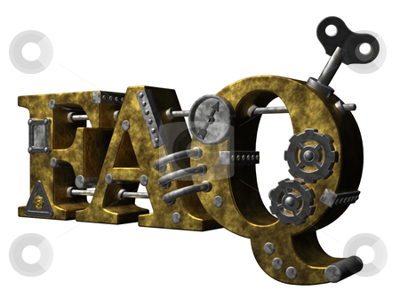 Faq stock photo, metal letters faq on white background - 3d illustration by J?