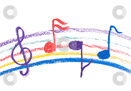 Colorful music notation drawing on white stock photo, Colorful music notation drawing on white, isolated musical notation by Lawren