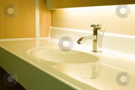 Washbasin and chrome tap  stock photo, Fresh and vintage washbasin and chrome tap  by Lawren