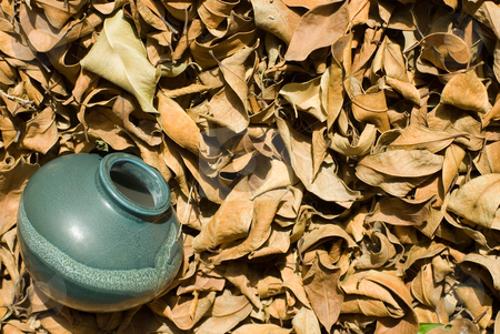 Dried-up fallen leaves with old chinese pottery stock photo, dried-up fallen leaves with old chinese pottery. by Lawren
