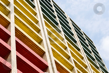 Colorful building under blue sky stock photo, Colorful building under blue sky, office building. by Lawren
