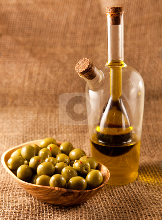 Green olives stock photo, green olives on hessian by trgowanlock