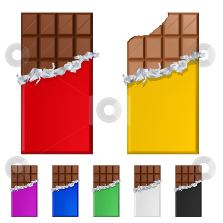 Set of chocolate bars in colorful wrappers stock photo, Set of chocolate bars in colorful wrappers. Illustration on white background by dvarg