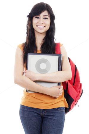 Female student stock photo, Stock image of cheerful female student isolated on white background by iodrakon