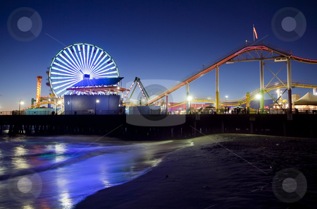 Santa Monica Pier at Night stock photo, Santa Monica Pier at Night, Santa Monica, California by Bryan Mullennix