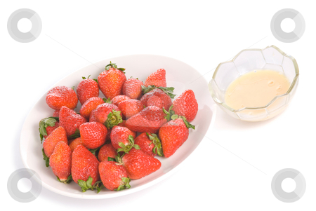 Isolated pile strawberry and yoghurt flavor stock photo, Isolated pile strawberry and yogurt flavor in white dish by Lawren