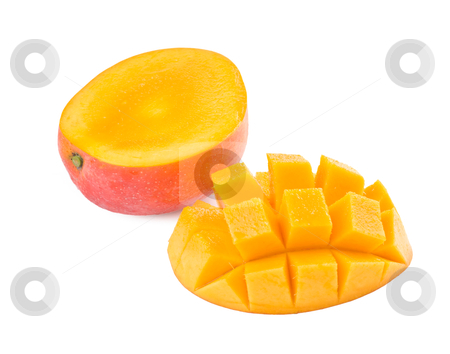 Fresh delicious mango fruit and slice stock photo, Fresh delicious mango fruit and slice isolated on white background by Lawren
