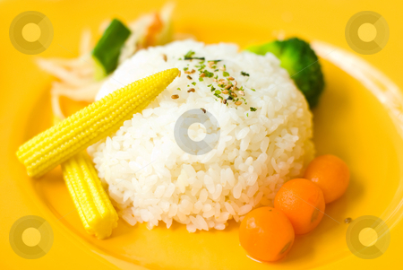 Chinese food in plate stock photo, Chinese food, Rice, sweet corn and red radish in dish. by Lawren