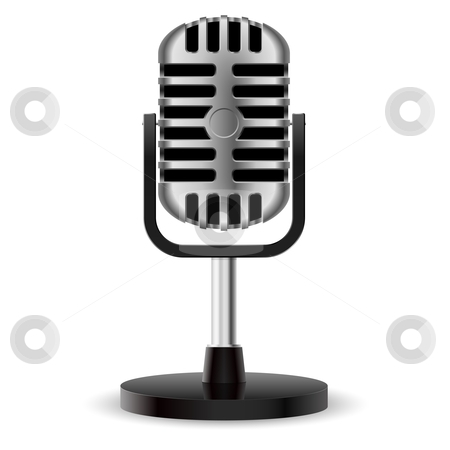 Realistic retro microphone stock photo, Realistic retro microphone. Illustration on white background for design by dvarg