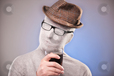 Hipster stock photo, with a glass in his hand, wearing glasses by olgagoralewicz