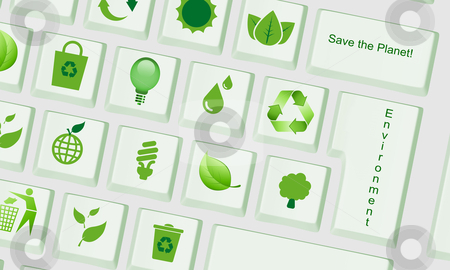 Green Computer keyboard with environment keys stock photo, Computer keyboard with special keys for environment by marphotography