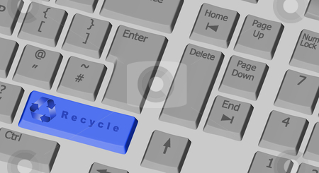 Recycle symbol on the computer keyboard in blue stock photo, Recycle symbol on the computer keyboard with special key in blue by marphotography