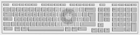 Computer keyboard in white and grey stock photo, Computer keyboard in white and keys in grey by marphotography