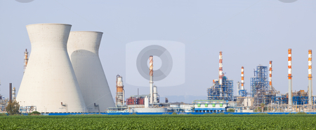 Nuclear power station  stock photo, Panorama of power station / Panoramic shot power station  by Dmitry Pistrov