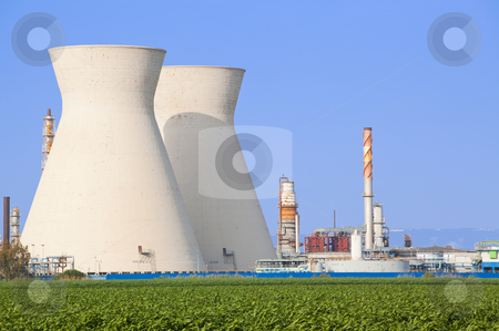 Nuclear power station ander blue sky stock photo, Coal power station  by Dmitry Pistrov