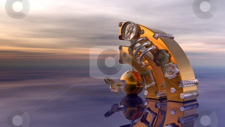 Rss stock photo, steampunk rss symbol under cloudy  sky - 3d illustration by J?