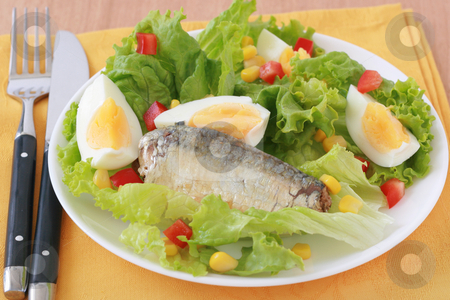 Salad with sardines stock photo, salad with sardines and eggs by nataliamylova