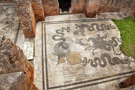 Ancient Roman Baths of Neptune Mosaic Floors Ostia Antica Rome I stock photo, Ancient Roman Baths of Neptune Mosaic Floors Ostia Antica Ruins Rome Italy Excavation of Ostia, ancient Roman port, next to airport.  Was port for Rome until 5th Century AD.  by William Perry