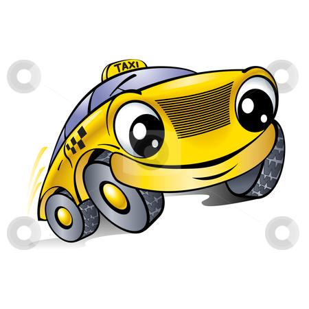 Car with a laughing face. Taxi.  stock photo, Car with a laughing face. Taxi. Illustration on white. by dvarg