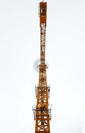 Top of City Crane looking up stock photo, Orange painted city construction tower crane from the base looking up by bobkeenan