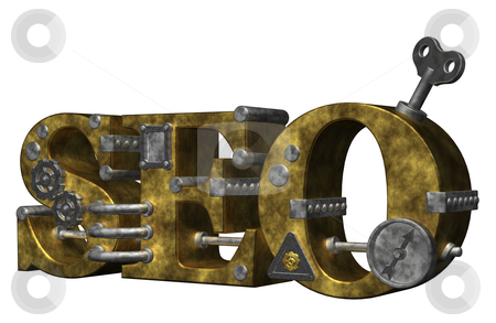 Seo stock photo, retro industrial letters seo on white background - 3d illustration by J?